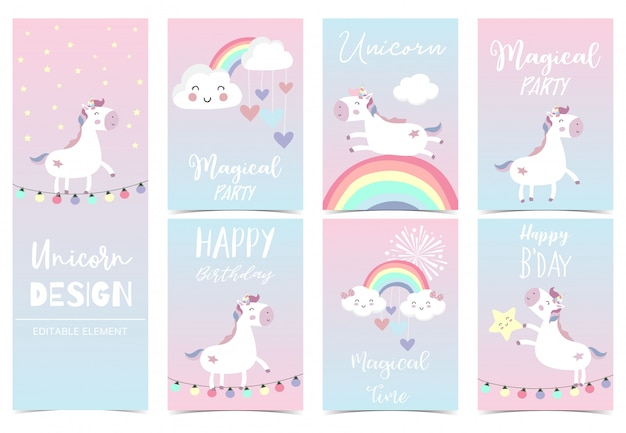 Cute unicorn card for kid