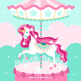 Cute unicorn in carousel