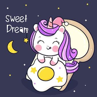 Cute unicorn cartoon animal sleep on bread breakfast