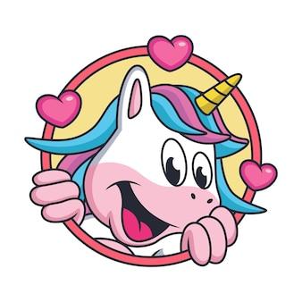 귀여운 유니콘 만화는 달콤한 미소로 아이스크림을 가져옵니다.