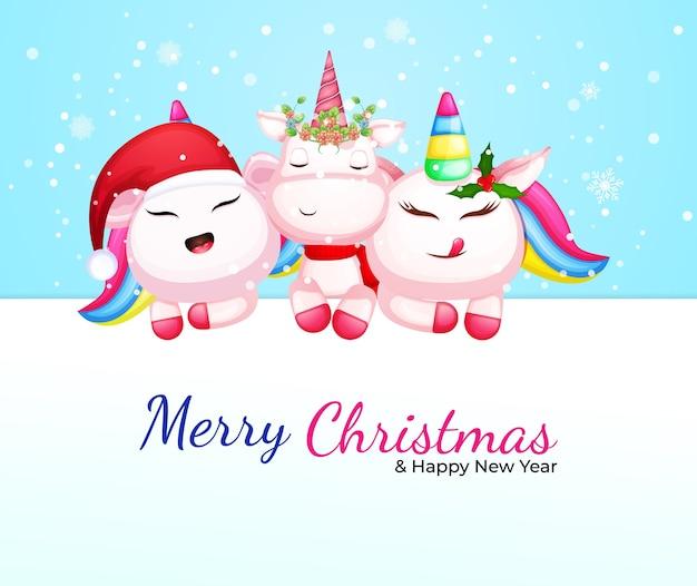 クリスマスの日のプレミアムベクトルのかわいいユニコーン漫画のキャラクター