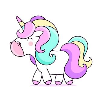 Cute unicorn cartoon character illustration.