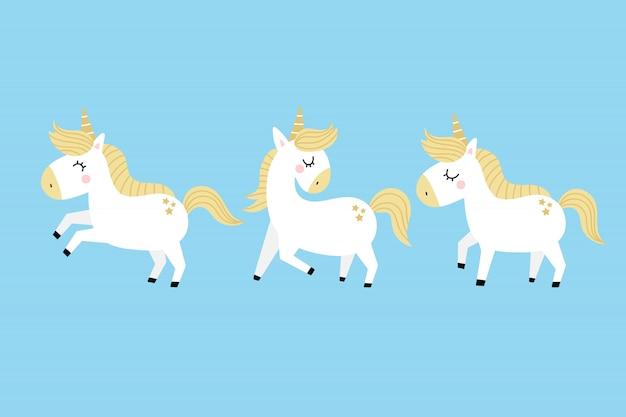Cute unicorn cartoon character vector.