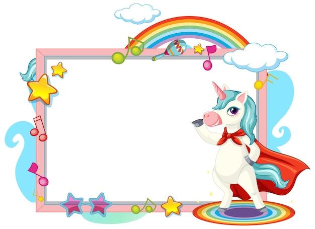 Simpatico personaggio dei cartoni animati di unicorno con banner bianco