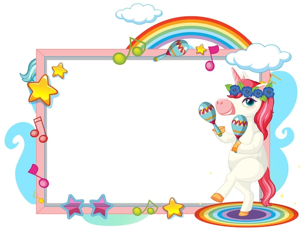 Cute unicorn cartoon character with blank banner