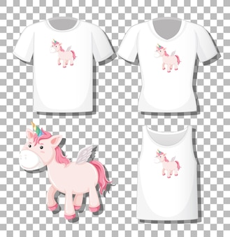 Cute unicorn cartoon character with set of different shirts isolated on transparent background