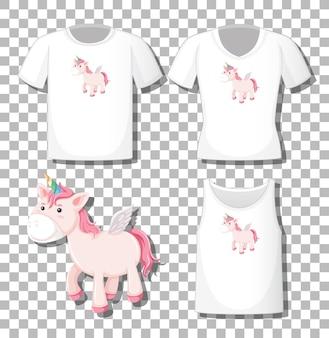 Simpatico personaggio dei cartoni animati di unicorno con set di camicie diverse isolato su sfondo trasparente