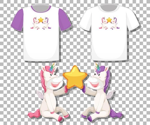透明に分離されたさまざまなシャツのセットとかわいいユニコーン漫画のキャラクター
