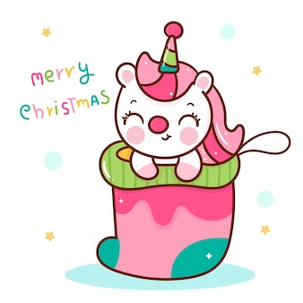 Cute unicorn cartoon in christmas sock kawaii animal