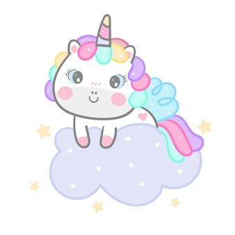 Cute unicorn cartoon on cloud hand drawn style
