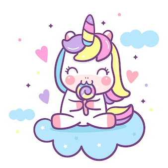 Cute unicorn cartoon eating candy