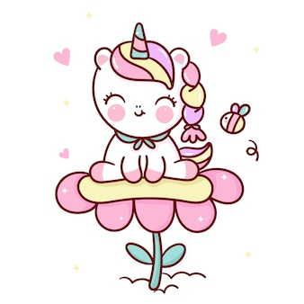 Cute unicorn cartoon on flower with bee kawaii animal