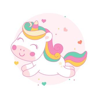 Cute unicorn cartoon fly on sky kawaii style