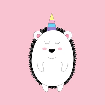 Cute unicorn cartoon hand drawn style.