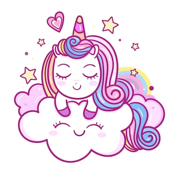 Cute unicorn cartoon hand drawn style