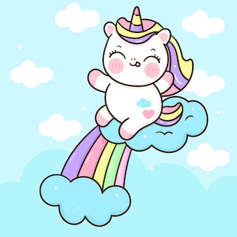 Cute unicorn cartoon happy emotion with cloud and rainbow