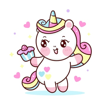 Cute unicorn cartoon holding birthday cupcake for party kawaii animal
