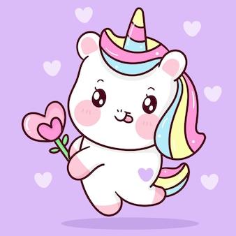 발렌타인 데이 귀여운 동물에 대한 심장 꽃을 들고 귀여운 유니콘 만화