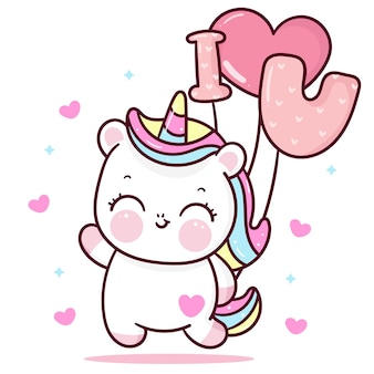 Cute unicorn cartoon holiding i love you balloon with heart valentines day kawaii animal