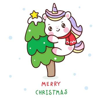 Cute unicorn cartoon hug christmas tree kawaii hand drawn
