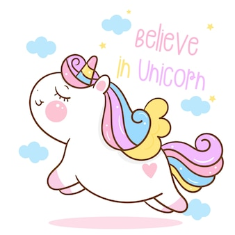Cute unicorn cartoon jump in the air flat style