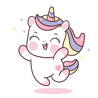 Cute unicorn cartoon jump in the air kawaii animal hand drawn