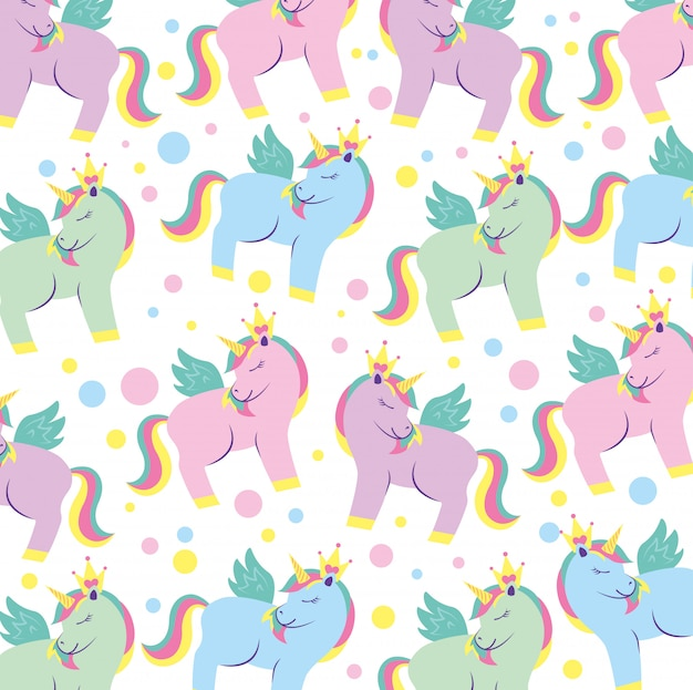 Cute unicorn cartoon pattern