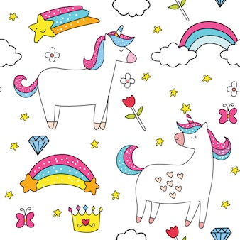 Cute unicorn cartoon seamless pattern hand drawn style