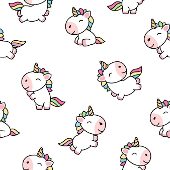Cute unicorn cartoon seamless pattern vector