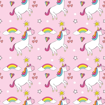 Cute unicorn cartoon seamless pattern