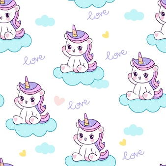 Cute unicorn cartoon seamless pattern