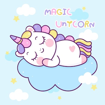 Cute unicorn cartoon sleep on cloud kawaii character