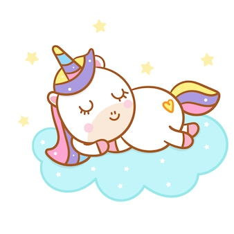Cute unicorn cartoon sleep on could hand drawn style