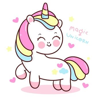Cute unicorn cartoon smile with heart kawaii animal