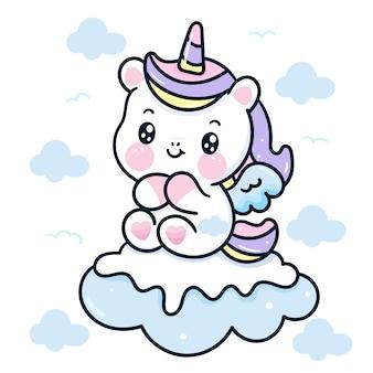 Cute unicorn cartoon on snow cloud kawaii animal