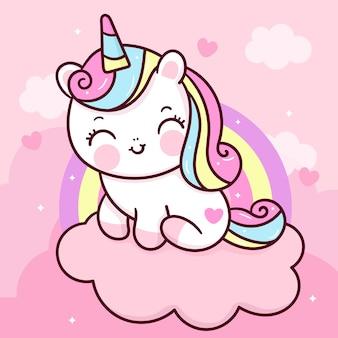 Cute unicorn cartoon on sweet cloud with rainbow kawaii animal