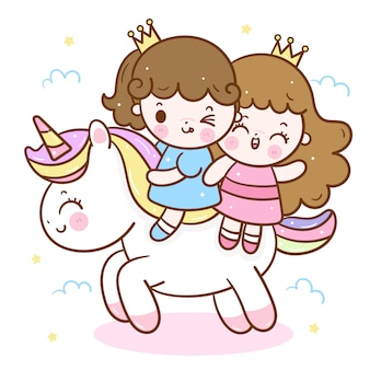 Cute unicorn cartoon and two little princess