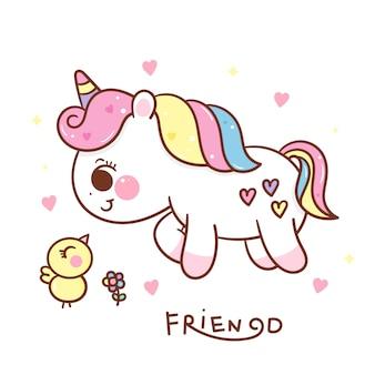 Cute unicorn cartoon with bird kawaii hand drawn