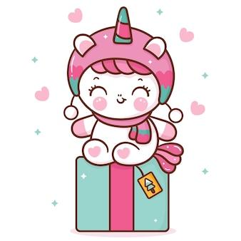 Cute unicorn cartoon with christmas gift kawaii animal