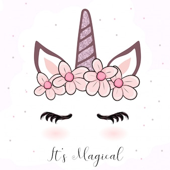Cute unicorn cartoon with flower crown