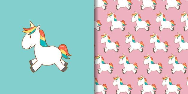 Cute unicorn cartoon with pattern