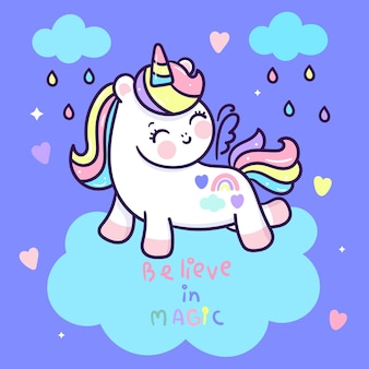 Cute unicorn cartoon with rainbow rainny kawaii style