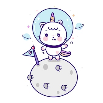 달에 귀여운 유니콘 고양이 우주 비행사 만화