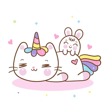 Cute unicorn cat cartoon and bunny rabbit