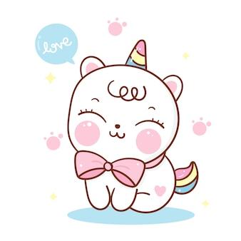 Cute unicorn cat cartoon kawaii animal hand drawn