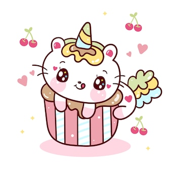 Cute unicorn cat on cupcake cartoon