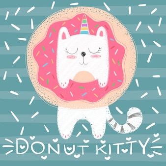 Cute unicorn cat - funny illustration