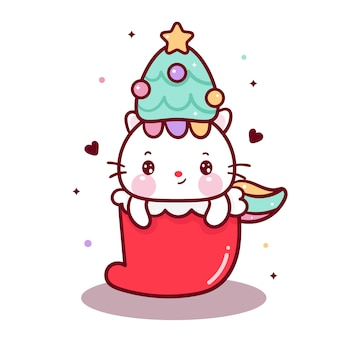 Cute unicorn cat vector with santa sock
