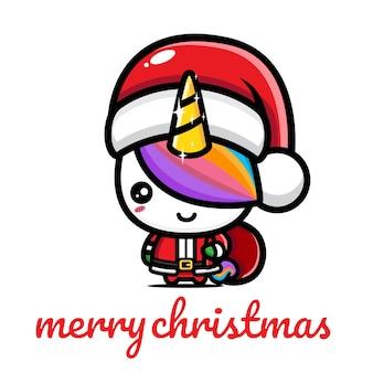 크리스마스를 축하하는 귀여운 유니콘