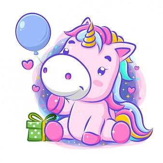 かわいいユニコーンのお祝いお誕生日おめでとう